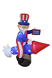 6 Foot Long Patriotic Independence Day Inflatable Uncle Sam...