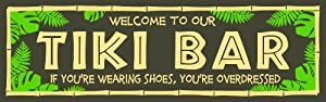 My Word 5 by 16-Inch Wood Sign, Tiki Bar