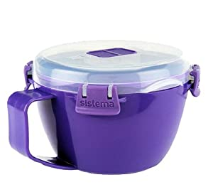Sistema Klip It Microwave Noodle Bowl To Go, Purple