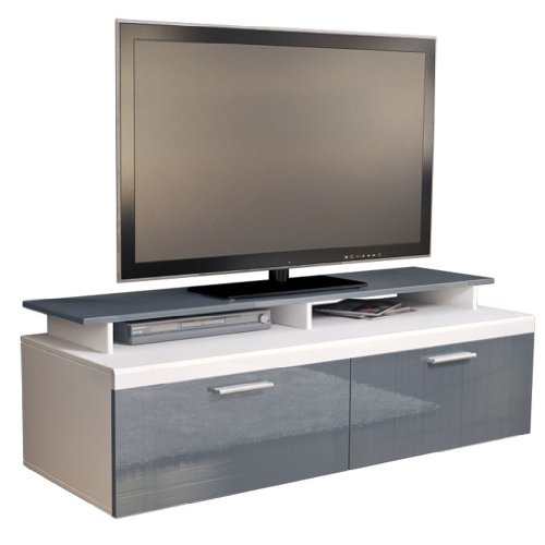 tv stand unit atlanta in white grey high gloss with tv. Black Bedroom Furniture Sets. Home Design Ideas