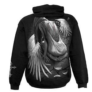 Spiral Direct Mens Broken Angel Sweatshirt Hood Top Black L 48-50