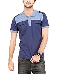 Campus Sutra Men Half & Half Polo Neck T-Shirt