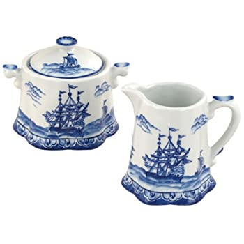 Blue Export Cream and Sugar Set