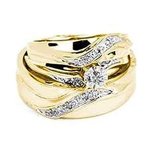 0.20 Carat (ctw) 10K Yellow Gold Round White Diamond Men & Women's Trio Bridal Set 1/5 CT (Size 10)