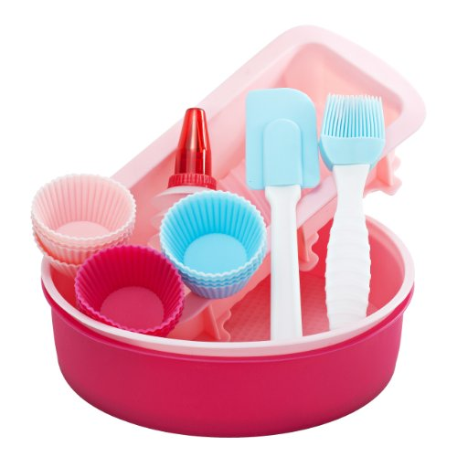 Vonshef 18 Piece Silicone Bakeware Baking Set - Cupcake, Round Cake, Bread Molds, Icing Decorator + Spatula & Pastry Brush