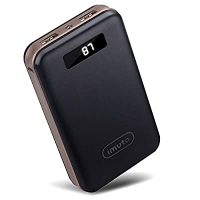 iMuto 20000mAh Compact External Battery Power Bank Portable Charger with Smart LED Digital Display and Quick Charge, Backup Battery Pack Camping Portable Battery Charger for iPhone 6 6S Plus 6+ 5S 4S, iPad Air 2 mini 3 Pro, Samsung Galaxy Note 4 5 3, S6 E