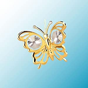 Mini Butterfly ... Hanging Sun Catcher or Ornament..... With Clear Swarovski Austrian Crystals