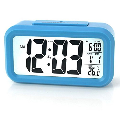 MYT ® Alarm Clock Creative Fashion LCD Electronic Clock Cute New Small Clock with Alarm , Time , Date , Temperature and Backlight Function (blue)