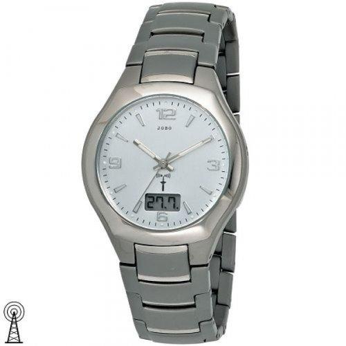 JOBO Herren-Funk-Armbanduhr Titan Mineralglas Funkuhr digitale Datumsanzeige