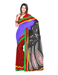 Fabdeal Stylish Indian Designer Wear Purple & Red Printed Saree (MOCSR8318ADP)
