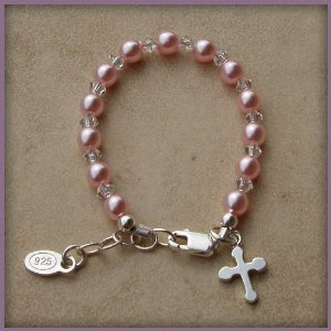 Bella Sterling Silver Childrens Girls Bracelet Jewelry Beautiful keepsake sterling silver bracelet with pink Czech pearls and crystals accented with a darling silver cross - perfect for christenings and communion with a touch of pink! Size Large 6-13 Years. Perfect for Christmas, First Communion, Easter, Graduation, Sunday Dress, Christening or Birthday.