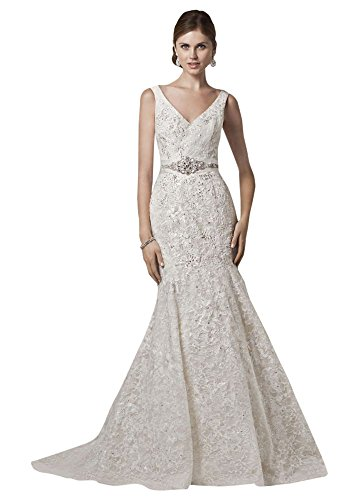 All Over Lace Trumpet Wedding Dress with Deep V Neckline Style CWG621, Ivory, 10