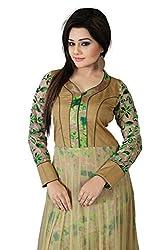 Kuvarba Fashion Silk & Net Green Designer New Semi Stitched Gown