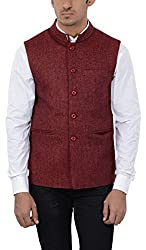 Pickle Men's Wool Waistcoat (NEH-5034 RED--XXL, Red, XX-Large)