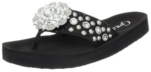 Grazie Women'S Buckaroo Sandal,Black,6.5 B Us back-564017