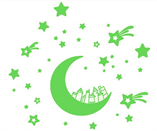 33 Piece Glow in the Dark Stars and Moon Set - Kids Wall Decal Decor