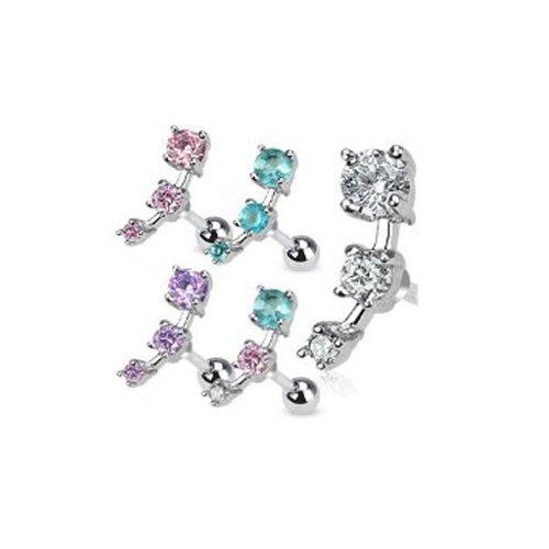 Dreams LB0017 - Piercing Trago Helix, per elice (orecchio), 1,2 x 6 mm, in acciaio chirurgico, con cristalli in diversi colori, chiaro (trasparente), 1,6 mm