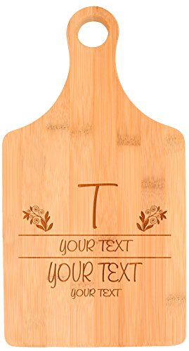 Customized Names Wedding Date Floral Engagement Gift Personalized Paddle Shaped Bamboo Cutting Board