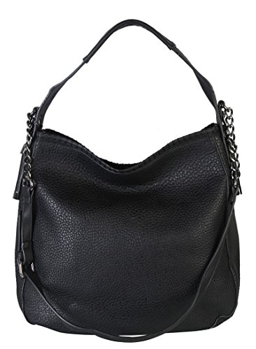 diophy-pu-leather-large-hobo-tote-womens-purse-handbag-accented-chain-zd-2500-black