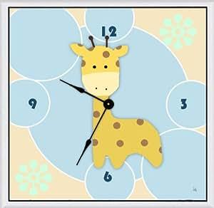 Green Leaf Art Art Clock, Small, Baby Giraffe on Bubbles