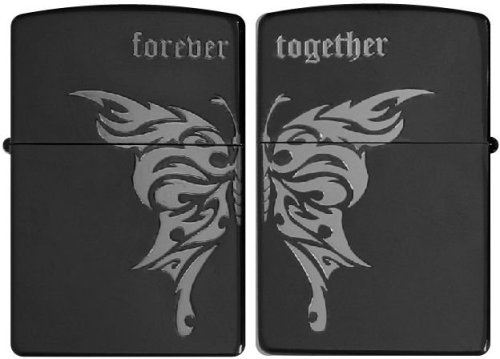 ZIPPO (ジッポー) ライター GMメッキ 凹部エッチング&ニッケルメッキ forever together(いつまでもそばにいて)2GM-BT(両面加工).MB
