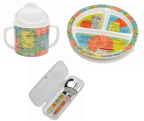 Sugarbooger Divided Plate, Sippy Cup, and Silverware Set-Road Trip