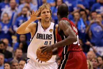 Miami Heat V Dallas Mavericks - Game Four, Dallas, Tx -June 7: Dirk Nowitzki And Joel Anthony Photographic Poster Print By Ronald Martinez, 8X12