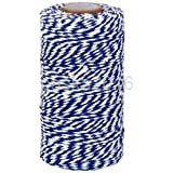 Alcoa Prime 100M Wrap Gift Cotton Rope Ribbon Twine Rope Cord DIY Craft Blue, White