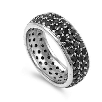 Rhodium Plated Silver 8mm Black CZ Eternity Ring (Size 6 - 10) - Size 9