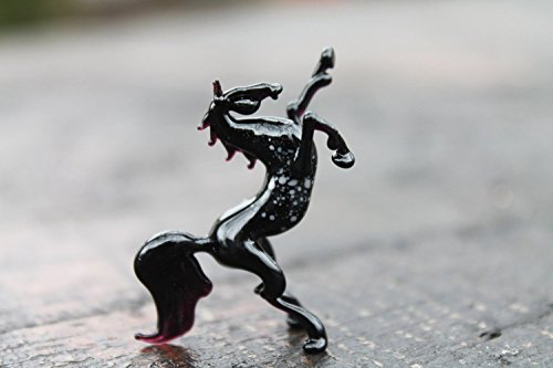 Blown Glass Horse Miniature Sculpture Black Figurine Homedecor murano art collectible gifts artglass lampwork boro Swedish horse handblown