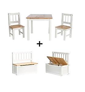 1x 2te wahl set kindersitzgruppe kinderm bel massivholz 1 tisch 2 st hle kindertruhenbank. Black Bedroom Furniture Sets. Home Design Ideas
