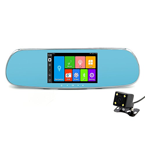 """junsun 5.0"""" Android Car DVR GPS Rearview Mirror Touch Bluetooth FHD 1080P Dual camera with Free map (Dual Lens Mirrors add 32GB)"""