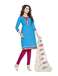 PShopee Sky Blue & Red Cotton Reshim Embroidery Unstitched Dress Material