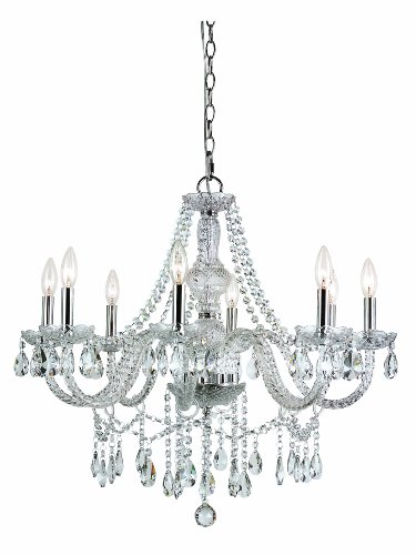 B005GG1B9C Trans Globe Lighting HU-8 SL Eight Light Crystal Chandelier