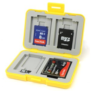 7dayshop Multi Use Memory Card Case for SD / SDHC / SDXC / microSD / microSDHC / microSDXC / Compact Flash etc - 7DCCB - Yellow