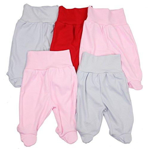 5er Set Baby Strampelhose Babyhose mit Fuß und breitem Bund Strampler Mädchen Stramplerhose Junge, Farbe: Mädchen, Größe: 68