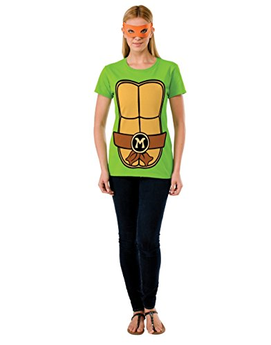 Michelangelo Teenage Mutant Ninja Turtles Costume & Mask Ladies T-shirt