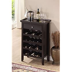 Roundhill Furniture Wood Wine Cabinet with Serving Tray, Espresso