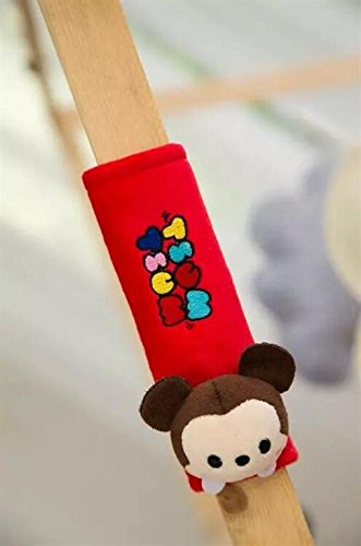 Finex® *Set of 2* Tsum Tsum Plush Car Seat Belt Strap Covers Shoulder Cushion Pad (Red - Both Mickey Mouse & Minnie Mouse) (Minnie Mouse Car Seat Belt Cover compare prices)