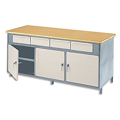 "Built-Rite Cabinet-Style Workbench - 60X30x34"" - (3) Horizontal Drawers, (2) Doors - Shop-Mate Top - Grey Frame/Almond Door"