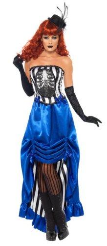 Smiffy's Burlesque Pin Up Costume, Blue/Black/White, Medium