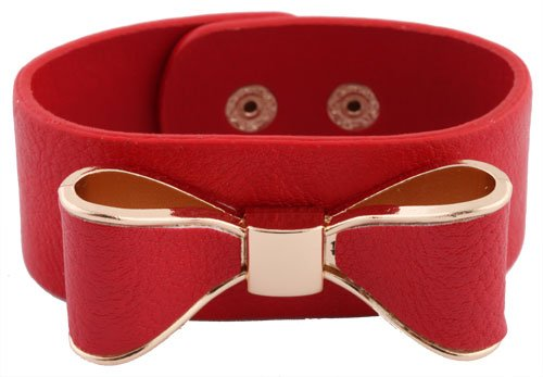 Red with Gold Genuine Leather Bow Style Adjustable Snap Bracelet