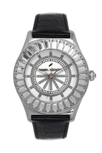 Daniel Hechter DHD 006S/BA-Women's Watch Analogue Quartz White Dial Black Leather Strap