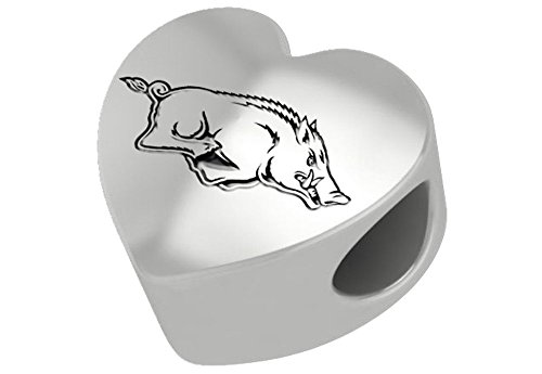 Arkansas Razorbacks Sterling Silver Heart Bead Fits Most European Style Charm Bracelets