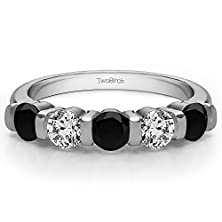 buy 0.33 Ct. Black And White Cz Bar Set Traditional Wedding Anniversary Band In Silver (1/3 Ct. Twt.)