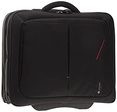 "Delsey Oppono 15.4"" Wheeled Laptop/Notebook Cabin Trolley Briefcase Bag Two Compartment Boardcase/Rollercase Overnight Business Case on Wheels 3.2KG M/48L Black"