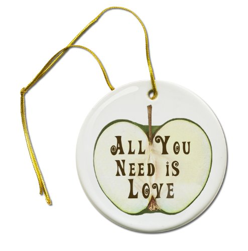 All You Need Is Love Beatles Music Apple 2 7/8 Inch Hanging Ceramic Ornament