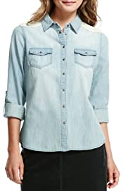 Indigo Collection Pure Cotton Crochet Denim Shirt [T66-9270-S]