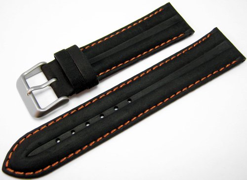Genuine Leather Water Resistant Watch Strap Band Black and Orange 22mm