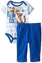 Disney Baby Boys Disney Tiger Bodysuit and Pant Set, Blue, 0-3 Months